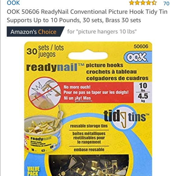 Brass 30 sets OOK 50606 ReadyNail Conventional Picture Hook Tidy Tin Supports Up to 10 Pounds 30 sets